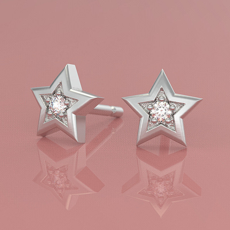 Star Twinkle Diamond Stud Earrings