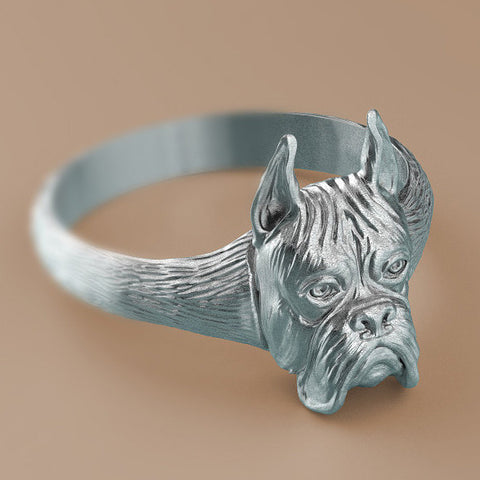 Boxer Breed Signet Ring - TINY BLING