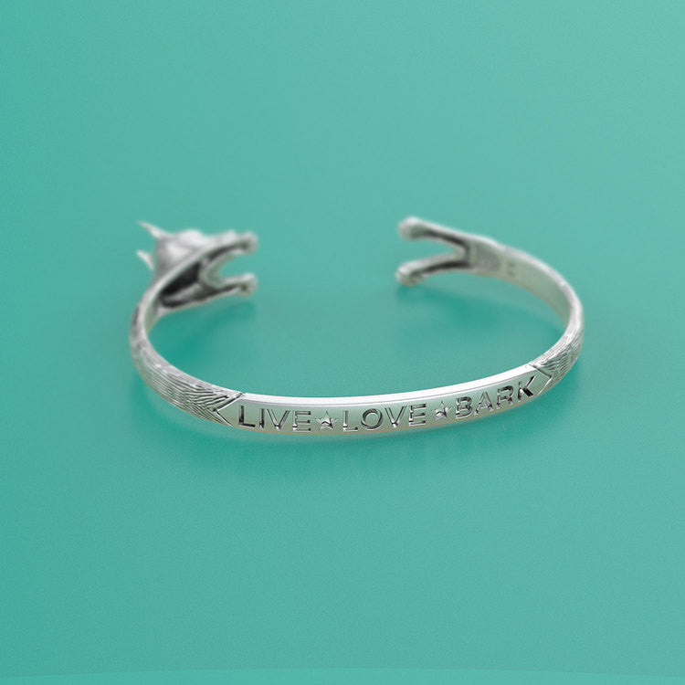 Handmade Doberman Breed Cuff Bracelet in Oxidized 925 Sterling Silver. For all the Dog, Puppy, and Pet Lovers.