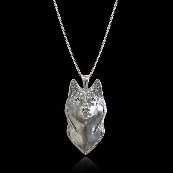 Siberian Husky Breed Jewelry Face Pendant - TINY BLING
