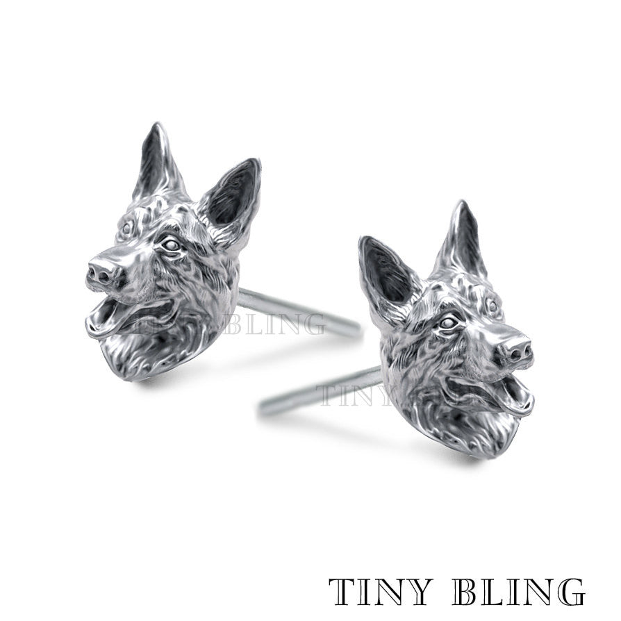 German Shepherd Puppy Face Earring Studs - TINY BLING