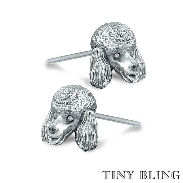 Poodle Puppy Face Earring Studs - TINY BLING