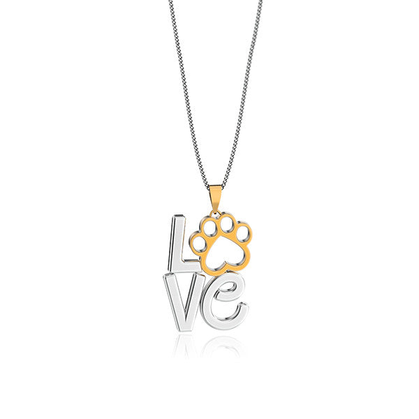 Love Heart Paw Print Pendant - TINY BLING