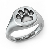 Puppy Paw Print Signet Ring