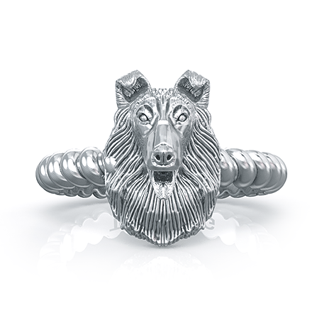 Rough Collie Breed Twisted Wire Rope Ring