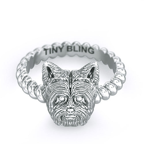Yorkshire Terrier Short Hair Twisted Wire Rope Ring