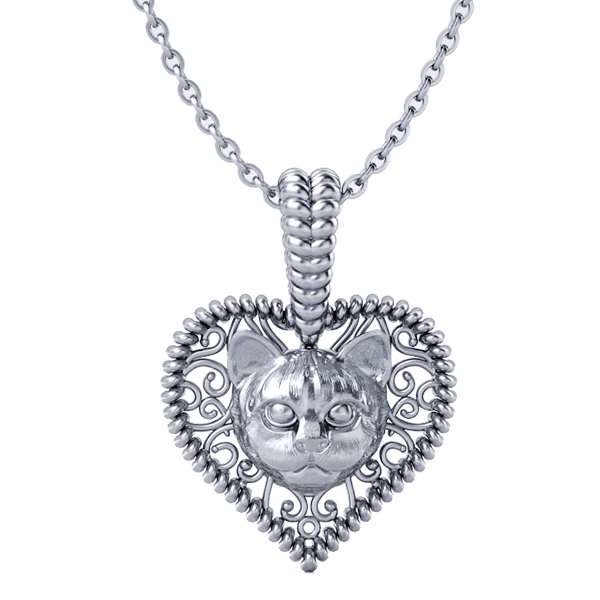 Cat Love Heart Pendant
