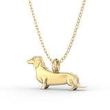 Dachshund  Mini Pups  Diamond Necklace Yellow Gold