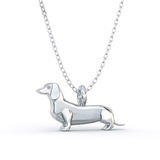 Dachshund  Mini Pups  Diamond Necklace Sterling Silver