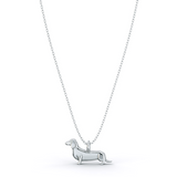 Dachshund  Mini Pups  Diamond Necklace White Gold