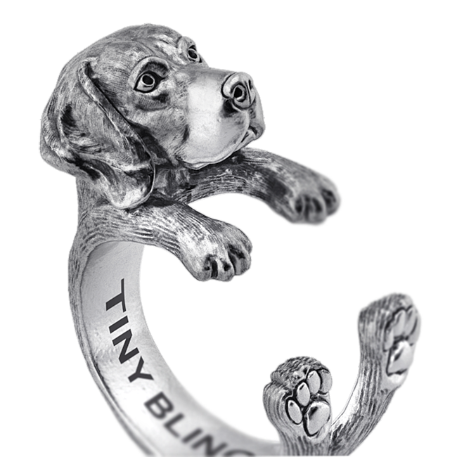 Weimaraner Breed Jewelry Cuddle Wrap Ring