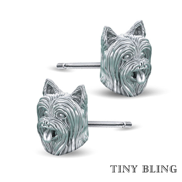 Yorkshire Terrier Face (Long Hair) Earring Studs - TINY BLING