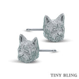 Yorkshire Terrier Face Earring Studs - TINY BLING