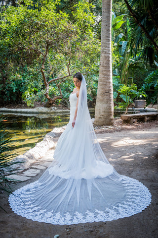 Alder Lace Cathedral Wedding Veil by Zveil
