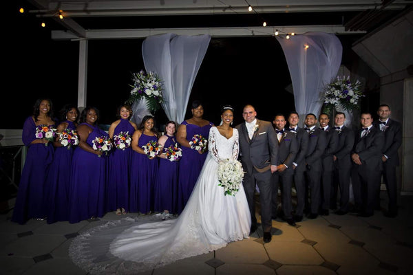 wedding bridal party purple