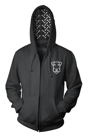 Airedale Terrier Hoodie Black - Bones In The Hood