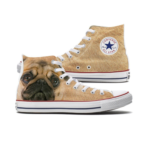 Shoes - Big Face Pugs Converse High Top Chucks
