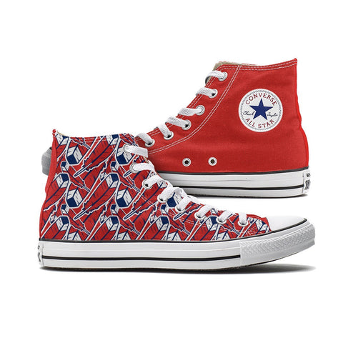 Shoes - Cleveland Feather Converse (Red High Tops)