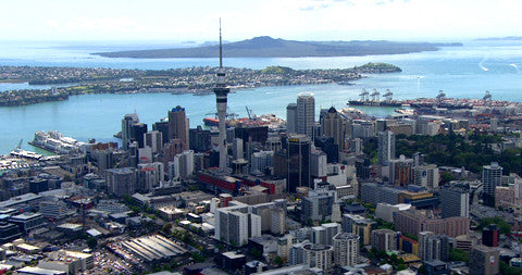 Auckland CBD, Devenport and Rangitoto in Background, New Zealand