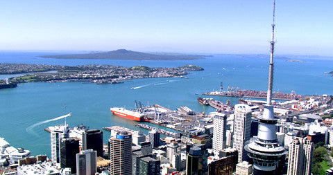 Auckland CBD, Looking Over the North Shore to Rangitoto, New Zealand