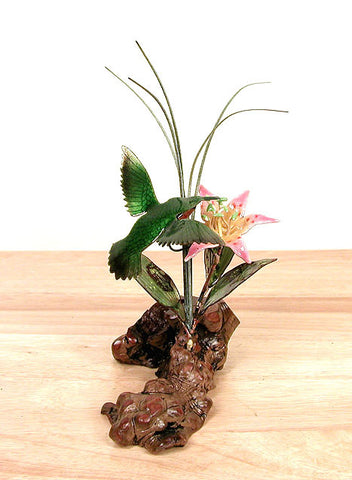 3D Hummingbird with Flower on Manzanita