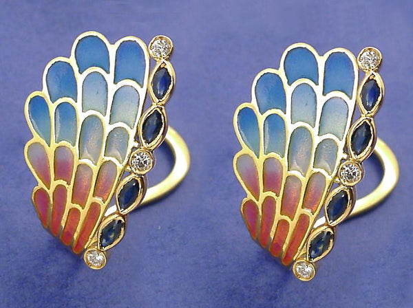 Enric Torres Art Noveau Gold Enamel Earrings with Diamonds & Sapphires