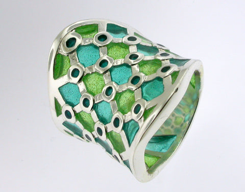 Art Noveau See-Thru Mesh Green Enamel Silver Ring