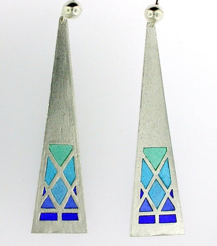 Bano Long Silver Enamel Earrings - Blue