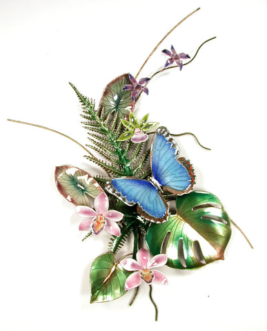 Blue Morpho Butterfly with Fern & Orchids