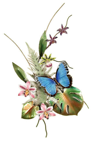 Blue Morpho on Pink Cymbidium Orchid
