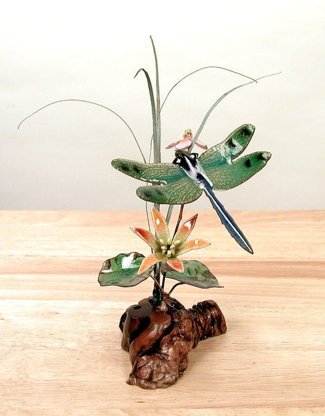 Green Winged Dragonfly & Flowers Tabletop Enamel Art