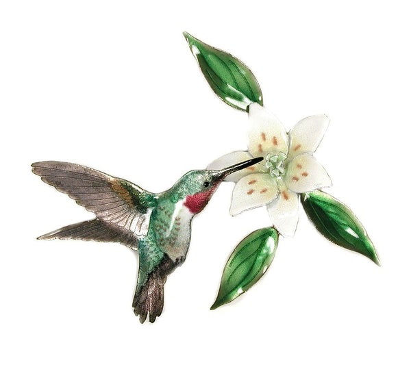 Broad-Tailed Hummingbird with Wood Lilly Flower