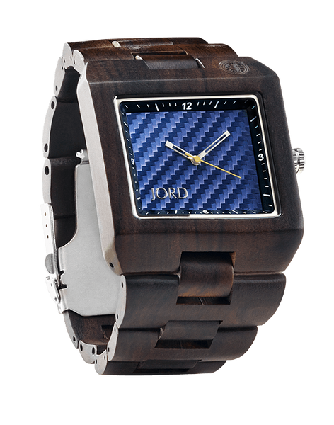 Delmar Sandalwood Blue Carbon Fiber Dial Wood Watch