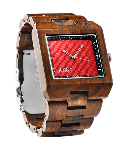 Delmar Sandalwood Red Carbon Fiber Dial Wood Watch