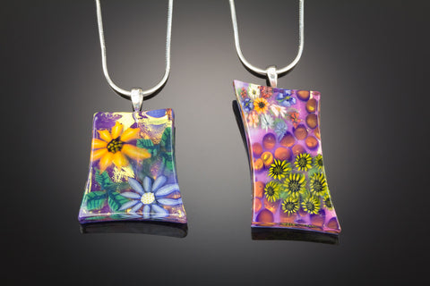 Flower Garden Hand-Cut Glass Pendant