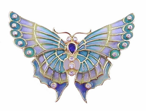 Enric Torres Gold Enamel Butterfly Pendant with Diamonds and Sapphire