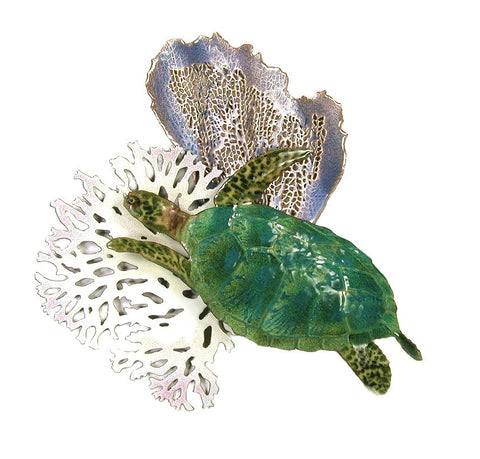 Green Sea Turtle with Coral - Blue