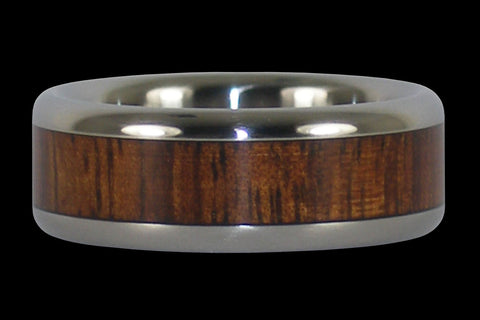 TITANIUM RING INLAID WITH DARK KOA WOOD
