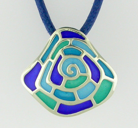 Infinit Silver Pendant with See-Thru Blue, Green, Purple Enamel