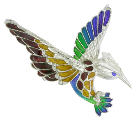 Enric Torres Kingfisher Silver Bird Colorful Enamel Brooch