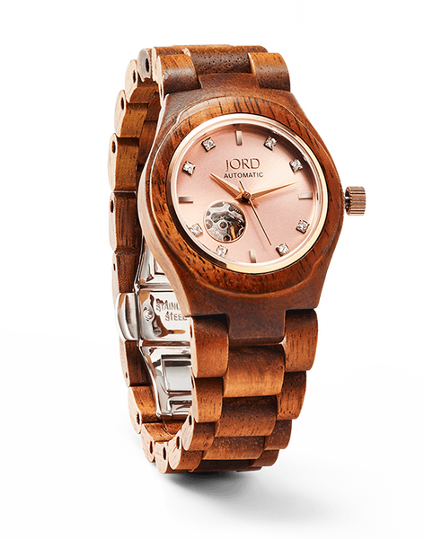 Koa Wood & Rose Gold Ladies Watch Automatic