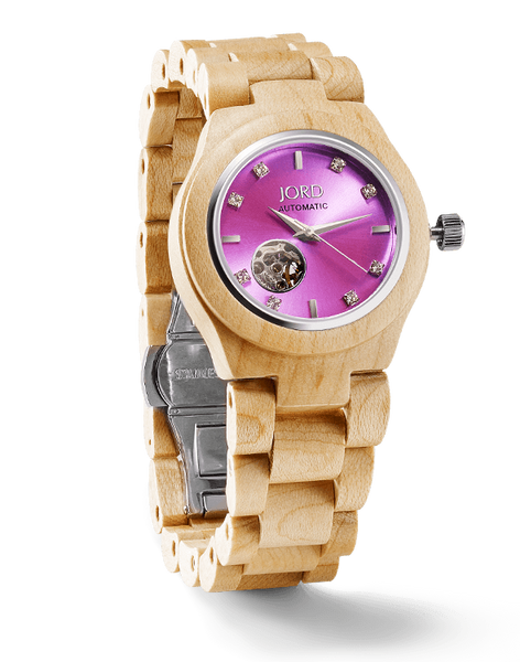 Maple Wood & Lavender Ladies Watch Automatic