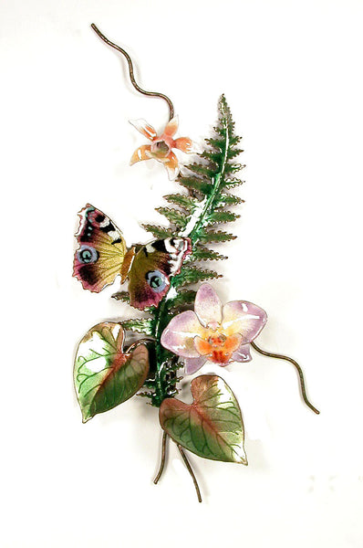 Olives Four Spot Butterfly, Orchids, Fern