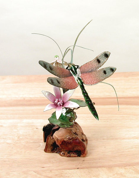 Pink Winged Dragonfly & Flowers Tabletop Enamel Art