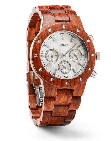Sidney Cherry Sandalwood Watch With Mother of Pearl Face