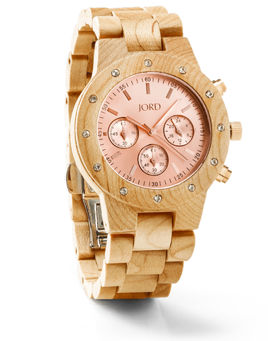 Sidney Maple Wood Watch With Rose Gold Face