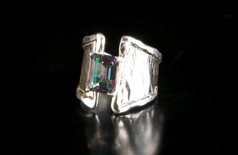 Silver Ring Split Taper Midnight Mystic Topaz