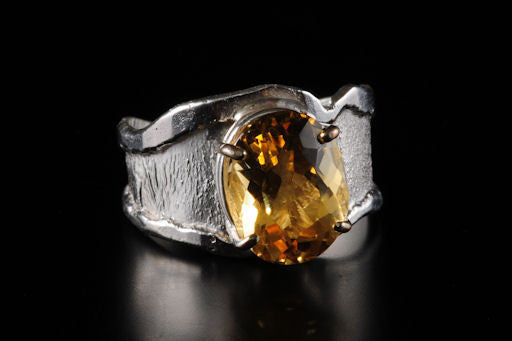Silver Ring Wavy Split Taper Citrine