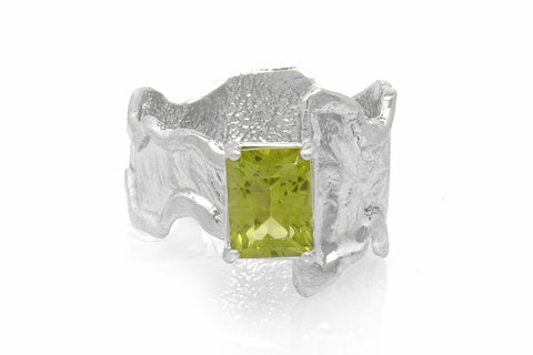 Silver Ring Wrap Peridot