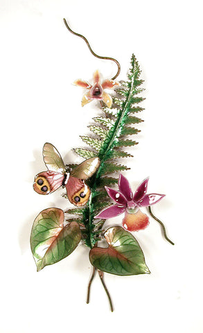 Violet Peacock Butterfly, Orchids, Fern